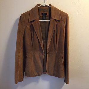 ⚡️Tan suede leather blazer jacket